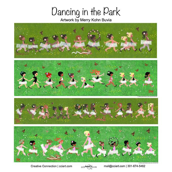 little kids doing ballet and dancing in the grassy park - cciart.com