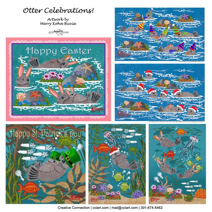 Adorable whimsical otters for different holidays.