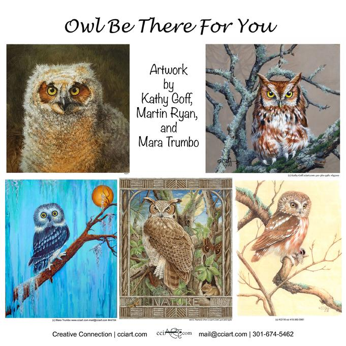 Five Original Owl Paintings including traditional and whimsical styles.