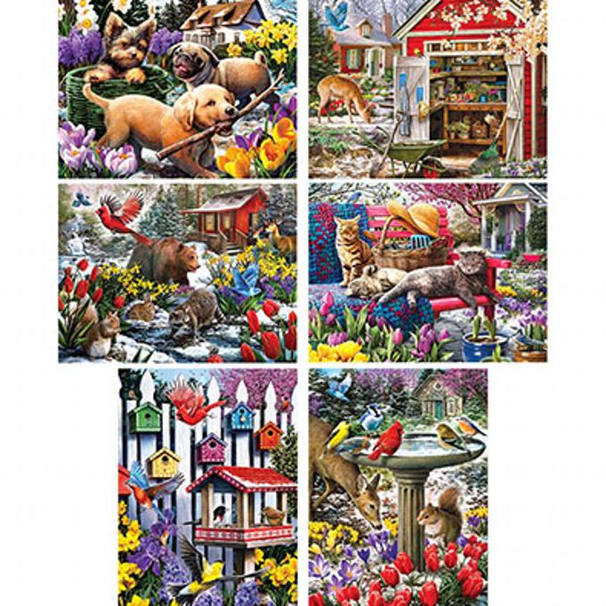 A set of Winter/Spring Puzzles designs by Larry Jones