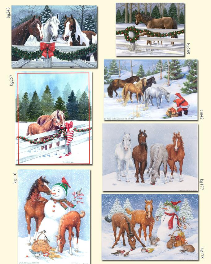Horses with snowmen, in snow, at fence with garland