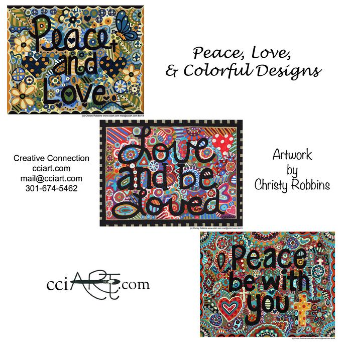 A set of three inspirational designs about Peace and Love