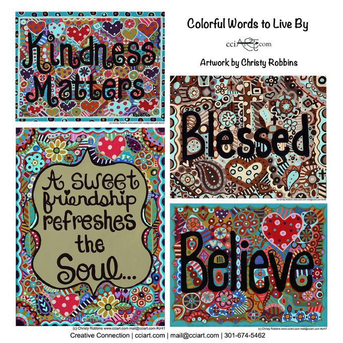 A set of four inspirational designs  with encouraging words like blessed and kindness matters