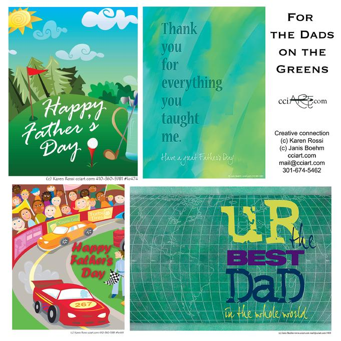 Four Father's Day designs for Active Dads on the green or in the world or on the track.