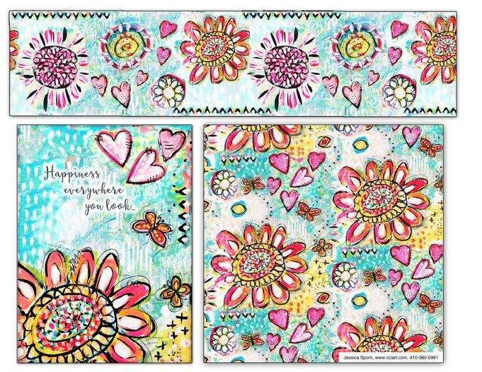 Airy and whimsical flower collection with lots of pale blues and pinks by Jessica Sporn