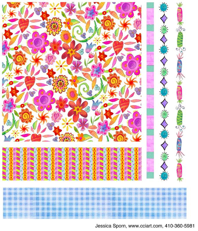Whimsical Floral Collection including flowers, wrapped candy and fun patterns.