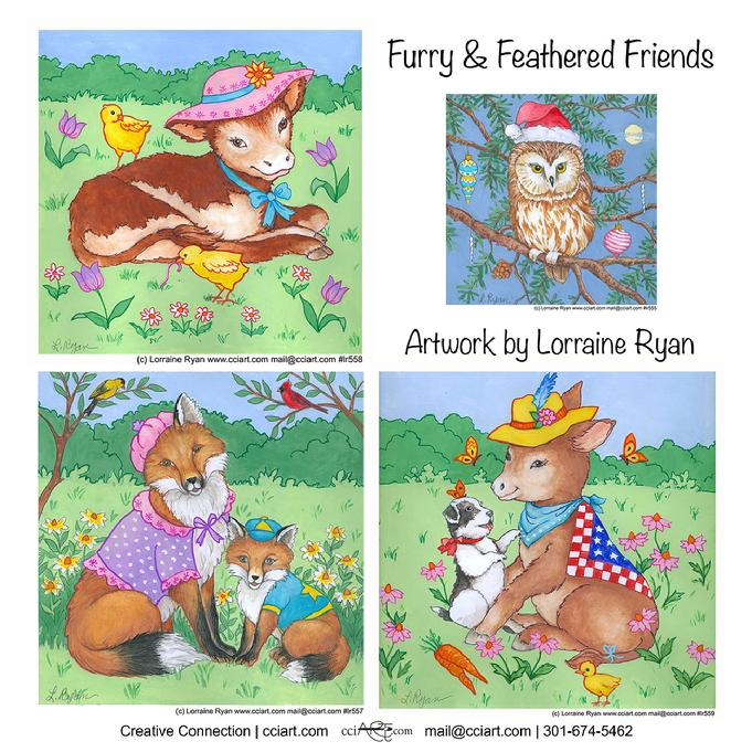 Four of Lorraine's Animal series with Hats including a cow, Fox, a donkey and more.