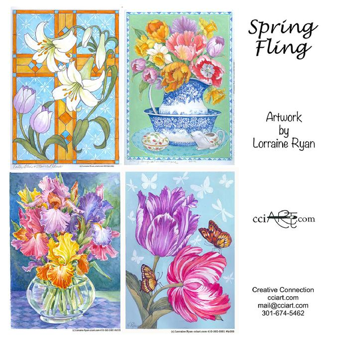 A set of beautiful Spring Florals including two vases with flowers and a cross