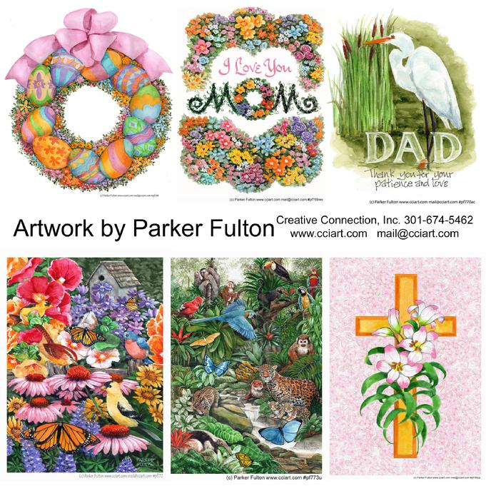 6 Nature Filled designs by Parker Fulton, including a wreath with eggs and flowers, Mom written in flowers, an Egret for Dad, Butterflies and birds, Jungle animals and a cross with flowers.