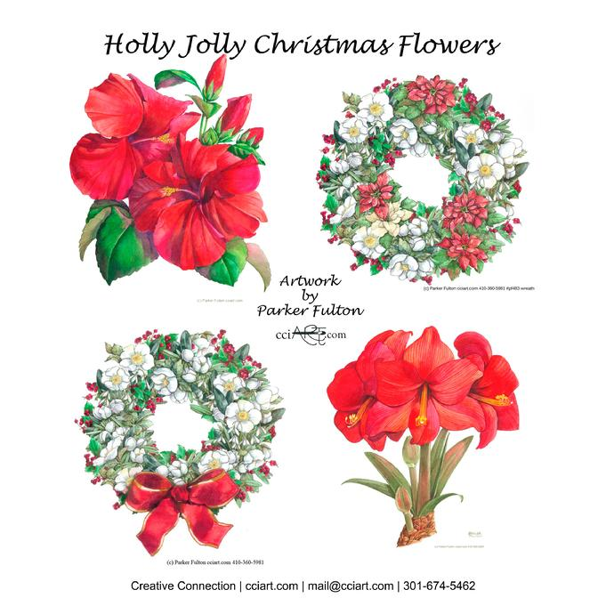 Four Festive Floral designs by Parker Fulton including two wreaths and a bouquet.