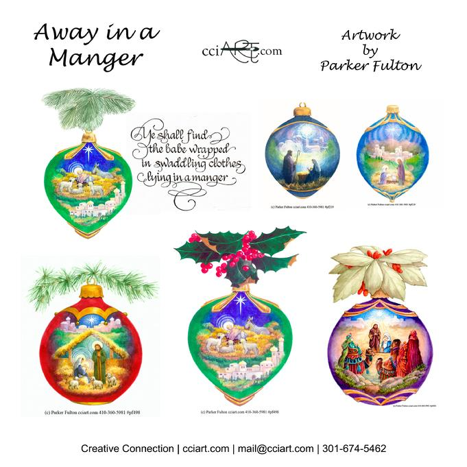 A set of 5 Nativity Scenes painted on Ornament shapes