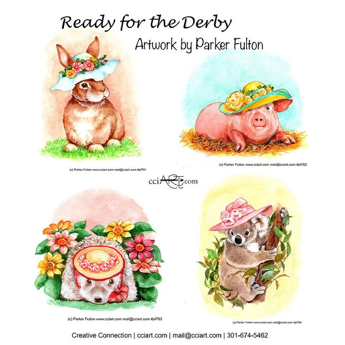 Part of Parker's Fashionable Series.  These four cute animals are ready for the derby with their fancy floral hats.