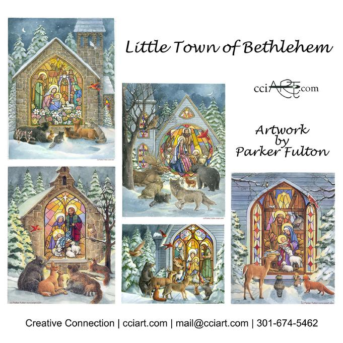 A set of 5 Stained Glass Nativities with animals in winter