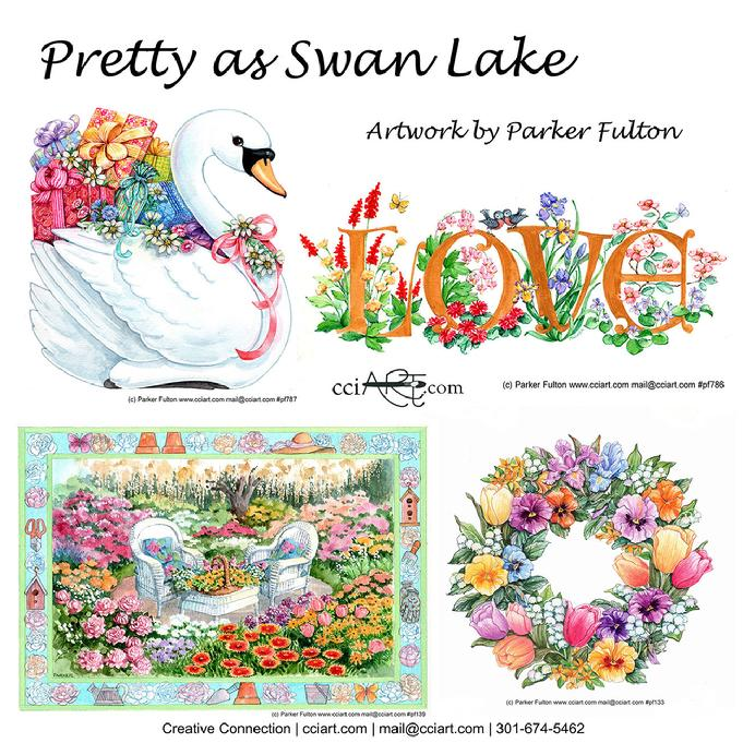 A Swan with presents, Love written in flowers, a garden chair and a floral wreath